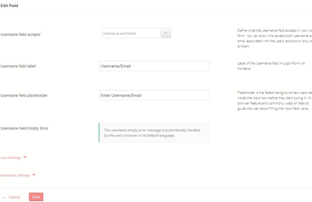 WordPress Login and Registration edit fields