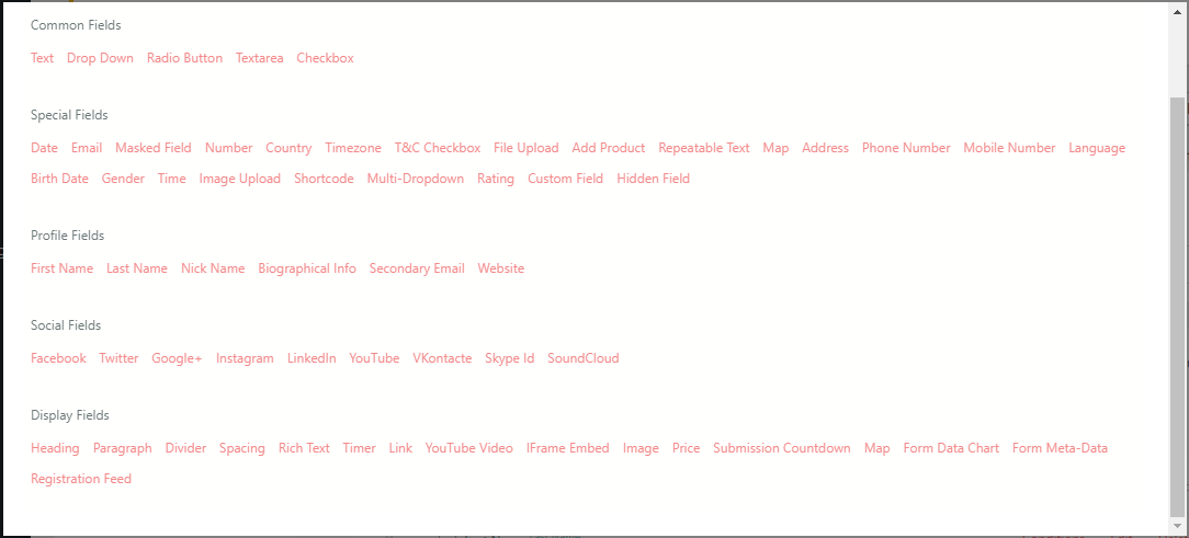 WordPress Class Registration Plugin add fields page