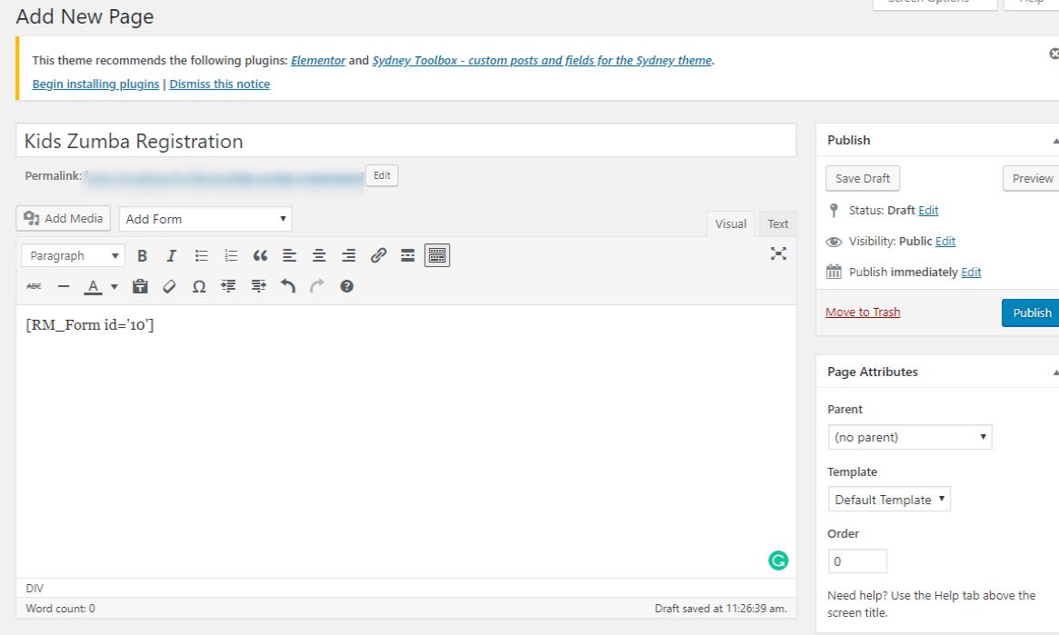 WordPress Class Registration Plugin new page