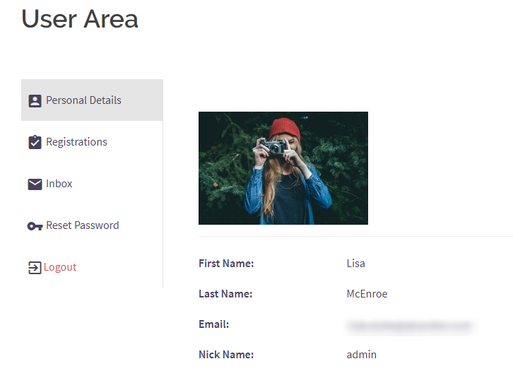 WordPress Class Registration Plugin usera area