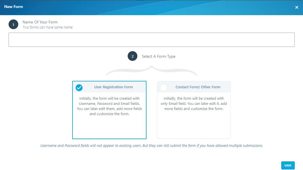 WordPress user accounts: RegistrationMagic New Form