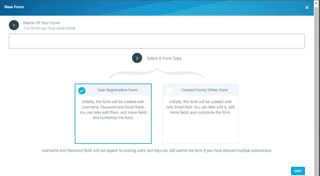 new form default wordpress registration form