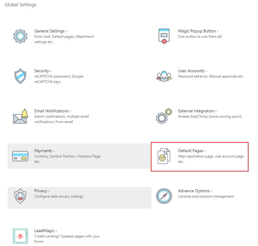 global settings default wordpress registration form