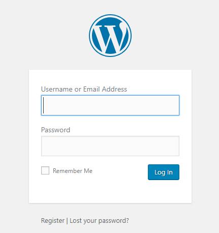 WordPress login default wordpress registration form