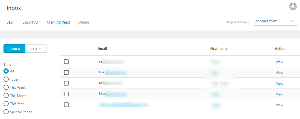 WordPress Form Submission inbox