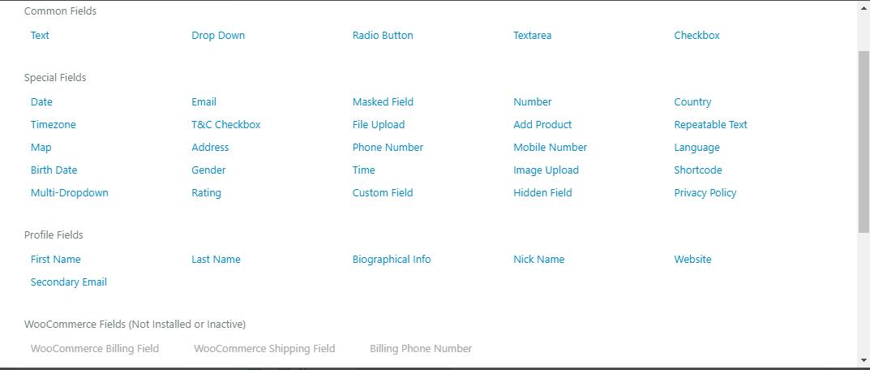 custom fields default wordpress registration form