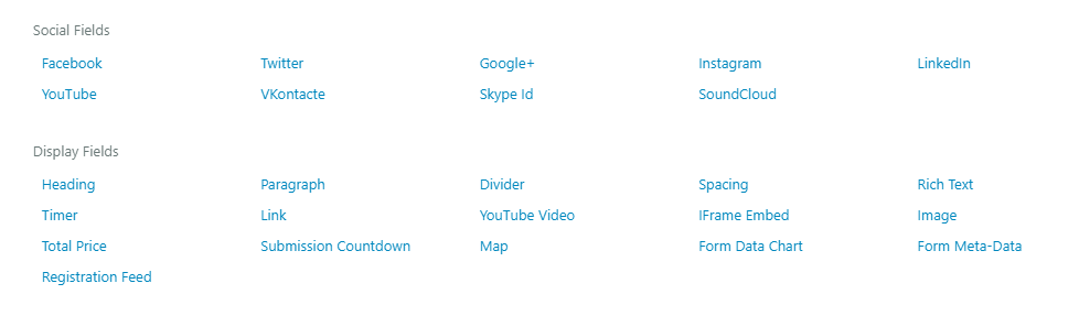 common fields default wordpress registration form