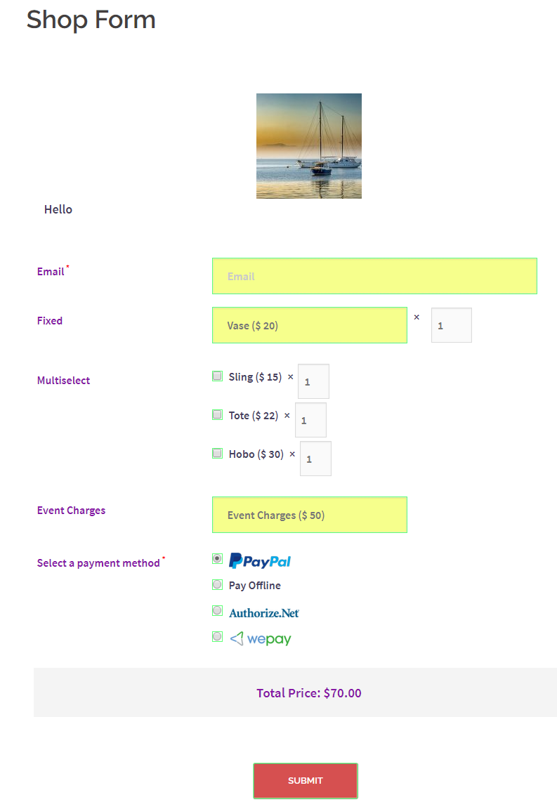 shop form default wordpress registration form